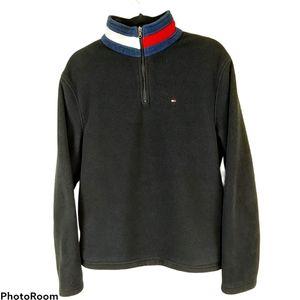 Tommy Hilfiger Black Soft Fleece Half Zip Pullover